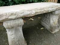 Log effect stone bench