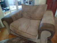 LARGE ARMCHAIR / CUDDLE CHAIR / LOVE SEAT BROWN