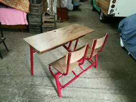 Superb vintage mid century tubular frame double school desk