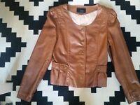 H&M brown carmel peplum jacket Eur 34 Xs