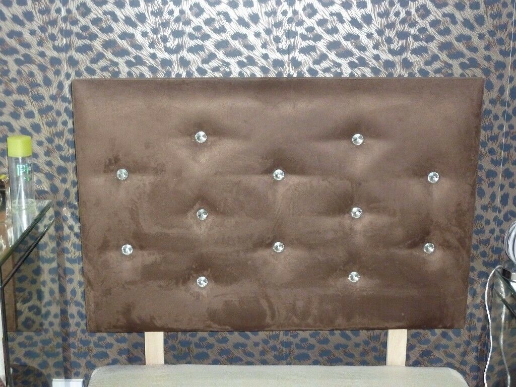 Single Chocolate Headboard - Snapdragon Suede Upholstered with diamante