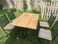 Garden table wooden top/ metal frame with 4 chairs