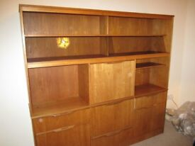 Vintage Solid Teak bookcase display cabinet with two sliding glass doors, 3 drawers, bureau and 3 c