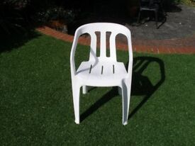Outdoor Single White Plastic Chair