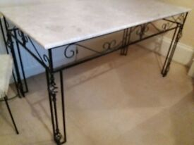 Bespoke wrought iron table and 6 chairs