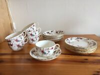 Floral 18 piece china cup, saucer and plate set
