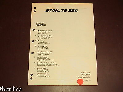 Stihl Cut-off Saw Spare Parts List Diagram Manual Part Number Book Ts200 Ts 200