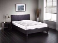 BRAND NEW-DOUBLE / SMALL DOUBLE LEATHER BED WITH SEMI ORTHOPAEDIC MATTRESS (Single,King Size)
