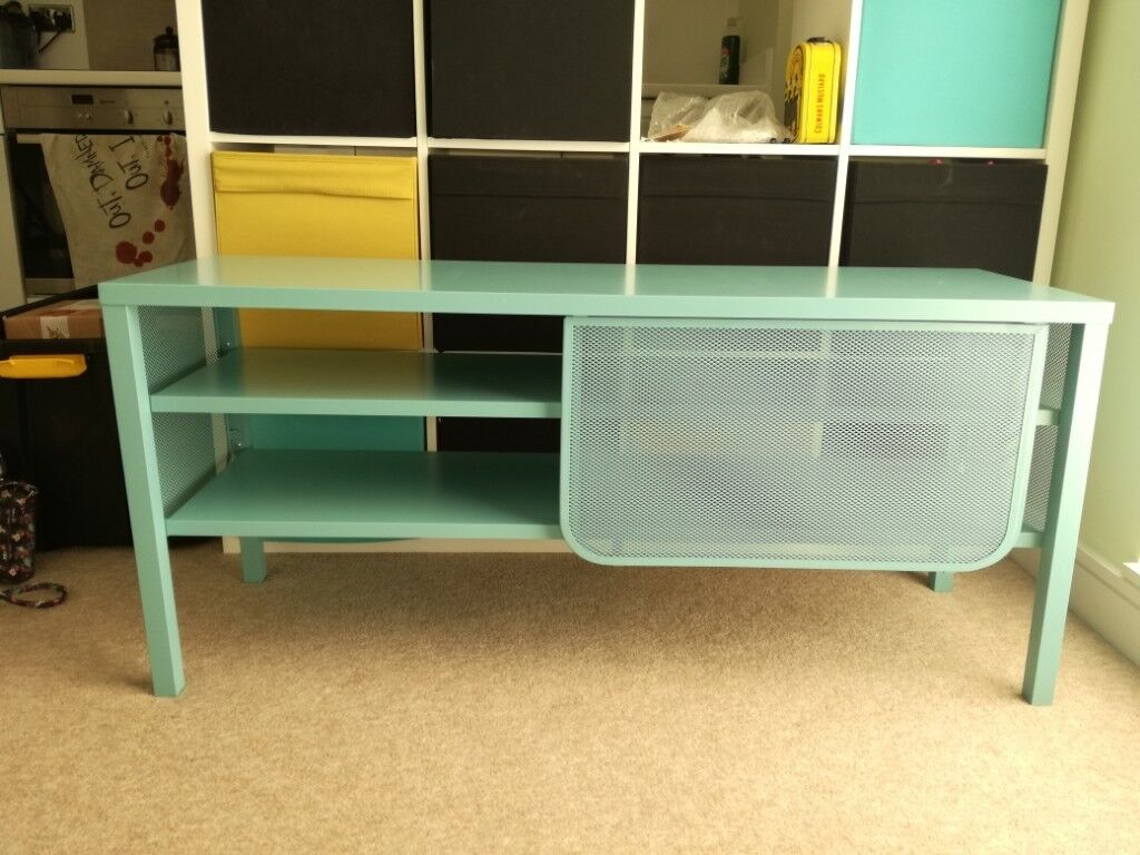 Ikea Light Blue Metal Tv Cabinet Furniture Stand Bench Sliding Doors Excellent Condition