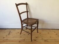 Antique Victorian Bedroom / Corner Chair with Rattan Seat Worn and Lovely