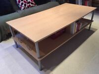 2 tier coffee table with metal legs