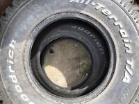 4 BF Goodrich A/T all terrain tyres 31 10.5 15 plus spare