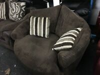 New/Ex Display Dfs Cord Half Leather Cuddle, Swivel, Love Chair