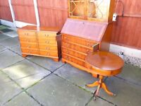 YEW WOOD FINISH DRUM TABLE/DRAWERS, NICE CONDITION, TINY MARK ON TOP, BARGAIN £35, CAN DELIVER