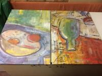 2 x canvas pictures