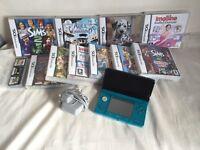 Aqua Blue 3ds with 15 Games