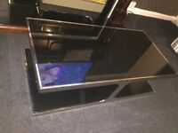 Glass Coffee Table, Black & Silver