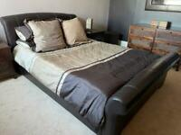 King size sleigh bed - leather frame and mattress *** SOLD ***