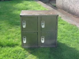 VINTAGE RETRO INDUSTRIAL CHIC 4 DOOR LOCKER STRIPPED METAL CABINET CUPBOARD