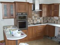 Large Modern Kitchen, Breakfast Bar, Cupboards, Units, Work Tops, Solid Wood