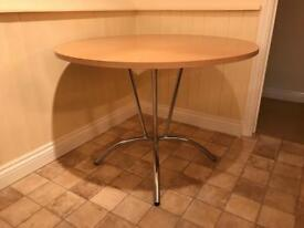 OAK EFFECT TABLE WITH STAINLESS LEGS 1 Meter Across