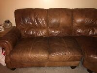Dfs real good quality leather corner sofa