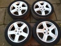 """PEUGEOT 17"""" ALLOY WHEELS WITH DECENT TYRES"""