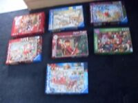 9 X 1000 PIECE JIGSAWS AS NEW CONDITION ALL XMAS SCENES £20 THE LOT !
