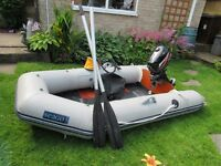 SEAGO 260 INFLATEABLE BOAT AND MERCURY 4HP ENGINE