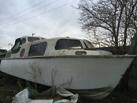 Narrowboat G.R.P. 26ft x 6ft 9ins, Very good strong Hull. Canal, River Live aboard.
