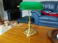 Brass bankers table lamp