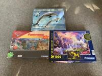 1000 piece puzzles Disney cars new, glow in dark unicorns and dolphins