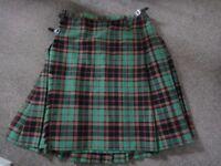 Green tartan kilt pure new wool 41 inch waist 74cms length