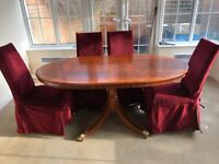 Dining Table (Extending) & 6 Laura Ashley chairs with Laura Ashley covers