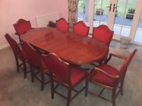 Regency yew wood extendable dining table and 8 red velvet velour chairs