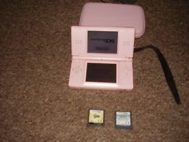 NINTENDO DS LITE WITH GAMES AND CHARGER AND CASE PINK