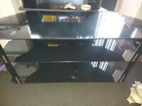 Tv stand large black glass like new mint etc