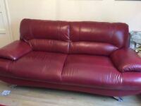 Three seater red leather sofa (Samara)