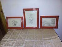 Winnie the pooh framed drawings x3