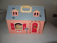 Wodden dolls house with furniture