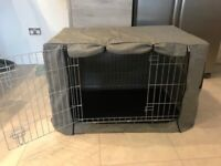 Medium Double Door Dog Crate with Cover