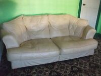 FREE!!!!! Cream Leather 3 seater sofa