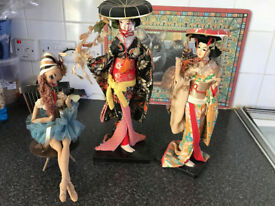 3 Vintage pot head soft bodied dolls 2 Vintage NISHI Geisha Doll Fujimusume Japanese Dolls
