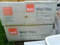 B&Q plain white tiles 20X30cm 8X12 inch 3 sealed packs plus extra spares
