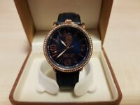 U.S. POLO Mop Crystals Blue Leather Strap