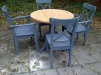 FARMHOUSE COTTAGE TABLE AND 4 CHAIRS SHABBY CHIC round
