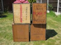 4 old wooden tea chests.