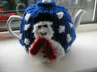 Fun tea pot and knitted cosy