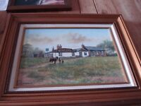 "Framed Oil painting of famous pub ""Fanny On The Hill"" in Welling, signed K Watkins 94. 46 x 56cm"
