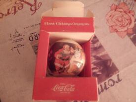 vintage coca cola santa xmas tree bouble from Canada